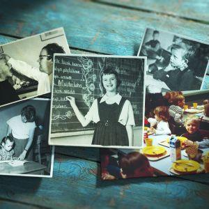 Kollaasi koulun liittyvistä historiallisista kuvista. Liitutaulu, kouluruokailu, lukeminen, opettaja ja hammastarkastus