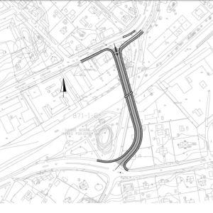 Trafikledsverkets karta över hur Appelgrensvägen i Hangö kunde ledas på annat sätt så trafiken över järnvägen blir säkrare.