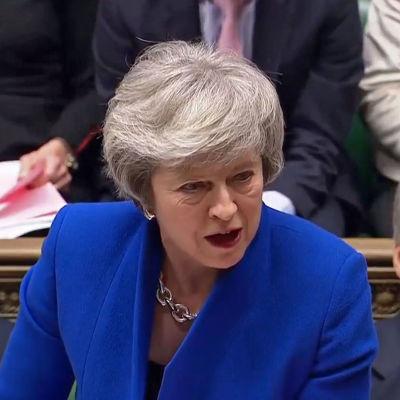 Premiärminister Theresa May i brittiska parlamentet.