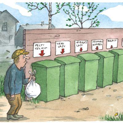 Sarjakuvassa mies ihmettelee roskien lajittelua.