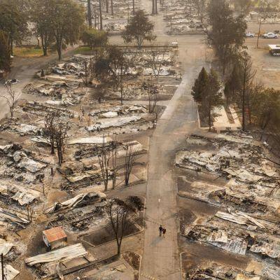 Maastopalojen aiheuttamia tuhoja asuntovaunualueella Phoenixissä Oregonin osavaltiossa.