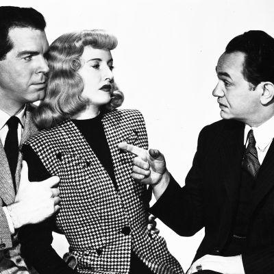 Fred MacMurray, Barbara Stanwyck ja Edward G. Robinson elokuvassa Nainen ilman omaatuntoa