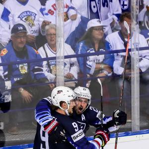 USA firar mål mot Finland, VM 2019.