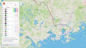 Karta från Strava som visar människor någon har stött på via Fly By funktionen