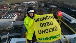 Bild från gruvtornet under aktionen i Nováky.