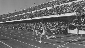 Suomi - Iso-Bitannia -yleisurheilumaaottelu Olympiastadionilla 1960-luvulla.