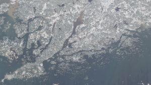 En satellitbild över Raseborg där Pojoviken ser aningen brun ut medan havet är blått.