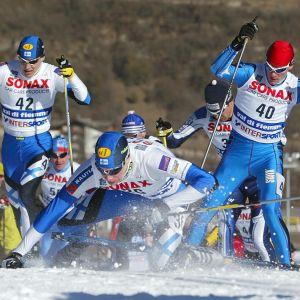 Olli Ohtonen på näsan under skid-VM i Val di Fiemme 2003.