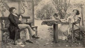 Dortchen Wild berättar sagor för Wilhelm Grimm i Fritz Genutats målning från 1912.