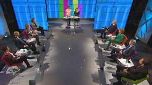 Skärmdump från Svenska Yles tvåspråkiga valdebatt den 8 april 2019.