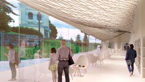 Arkitektritning på Kyrkslätts biblioteks café.