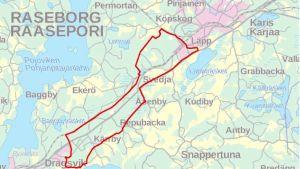 En karta över ett område mellan Karis och Ekenäs.