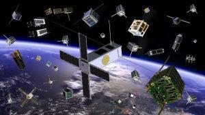 Hieman humoristinen piirros satelliiteista taivaalla