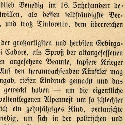"""Fraktuura kirjaintyyppi (kirjasin, fontti, aakkoset, kirjasinlaji). Fraktuuralla ladottu saksankielinen teksti kuvateoksesta """"Tizian, E. A. Seemanns Künstlermappen"""". Vanhan kirjan sivu, yksityiskohta tekstistä, painettu mahdollisesti vuonna 1921."""