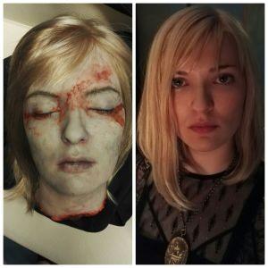 Janna Räsäsen kasvot, joiden vieressä hänen päästään tehty rujompi, irrotettu jäljennös.