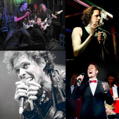 Vasemmalla ylhäällä kuva hevibändistä, oikealla ylhäällä Nikula mikrofoni kädessään keikalla. Vasemmalla alhaalla Nikula lähikuvassa laulaa. Oikealla alhaalla Nikula laulaa puku päällä punainen rusetti kaulassaan.