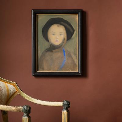 Akvarellen Flicka med blått band. Målad av Helene Schjerfbeck.