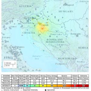 Kartan visar var jordskalvet i Kroatien ägde rum.