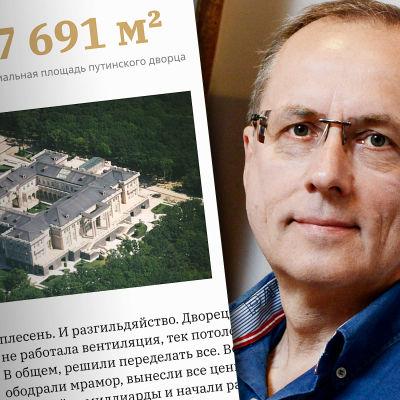 Yhdistelmäkuva, jossa kuvakaappaus Putinin palatsia käsittelevältä sivustolta sekä Sergei Kolesnikovin kasvokuva.