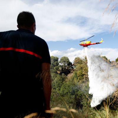 Helikopterista pudotettiin sammutusvettä Carrosissa lähellä Nizzaa 25. heinäkuuta.