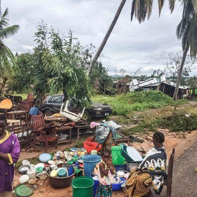 Följderna av cyklonen Kenneth i Macomia, Mocambique 28.4.2019