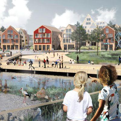 Oulun Hartaanselän vuoden 2025 asuntomessujen havainnekuva.