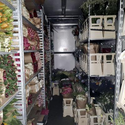 Poliisin handout-kuvassa kukka-auto: huumausaineet oli pakattu kuorma-autoon kukkien ja kasvien kuljetusruukkuihin