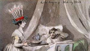Fritz von Dardels målning av luciafirande 1848.