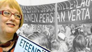 Päivi Istala (Seppo Sarkkinen 2008). Shaahin vastaiset mielenosoitukset (Yle kuvanauha 1970). (Montaasi: Jukka Lindfors)