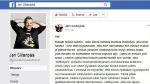 Skärmdump från Jari Sillanpääs uppdatering på Facebook.