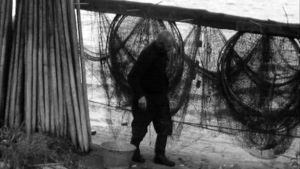 Erakko Arvid Blom tarkastaa kalastusverkkojaan.