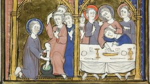 D Detail of the lower section of the miniature, with scenes of Jesus washing the feet of his disciples, and the Last Supper. Image taken from f. 17v of Psalter and Hours, Use of Arras. Written in Latin, with some French.