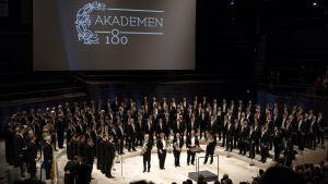 Akademiska Sångföreningen under sin 180-års jubileumskonsert 2018.