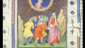 Eksodusta kuvaava yksityiskohta 1400-luvun kirjasta Bible historiale, varhaisesta versiosta.