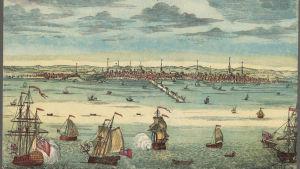 Gammal illustration av Boston år 1723.