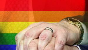 Två homosexuella män håller varandra i handen