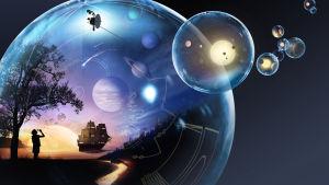 En konstnärs uppfattning av Voyagersondens resa.