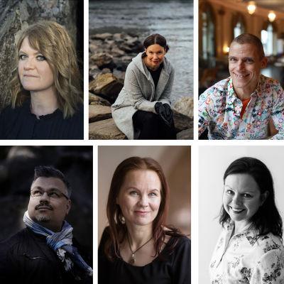 Collage av åtta porträttbilder på kvinnor och män.