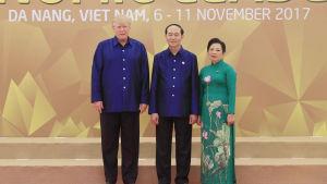 Trump träffade president Trần Đại Quang och hans fru Nguyễn Thị Hien under sitt besök i Vietnam som avslutades på söndagen