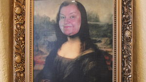 Bildcollage av Mona-Lisa, med Heddy Norrgårds ansikte
