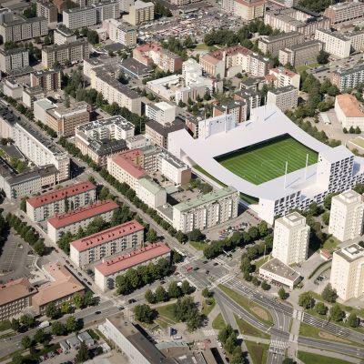 """Havainnekuva Tammelan stadionin suunnitteluehdotuksesta """"Hattutemppu"""""""