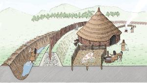 Teckand beskrivning av en forntida bosättning med befästningsvall