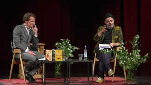 Kirjailijat Juha Itkonen ja Hassan Blasim