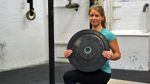 Lina Björkskog i träningssalen