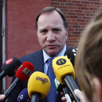Stefan Löfven i Stockholm med mikrofoner framför sig.