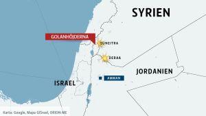 Karta över Syrien, Israel och Jordanien.