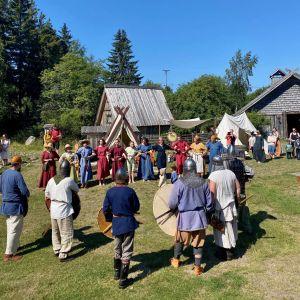 Många människor i vikingakläder dansar i ett långt led på en gräsmatta framför hus byggda i vikingastil.