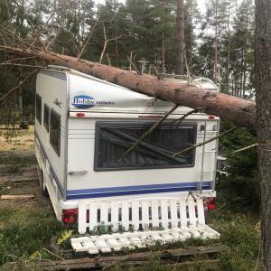 Nedblåst träd över husvagn i Fäboda  i Jakobstad.