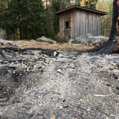 Harmaata ja palanutta maastoa Seinäjoen Kyrkösjärven järvilaavulla, mustuneita puita
