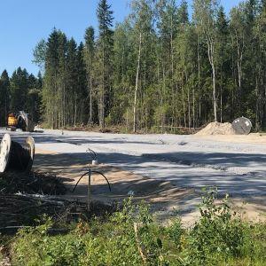 Ny anslutningsväg byggs till bostadsområdet på Fårholmen